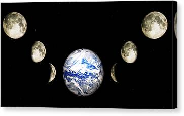 Astronomy Canvas Print - Earth And Phases Of The Moon by Bob Orsillo