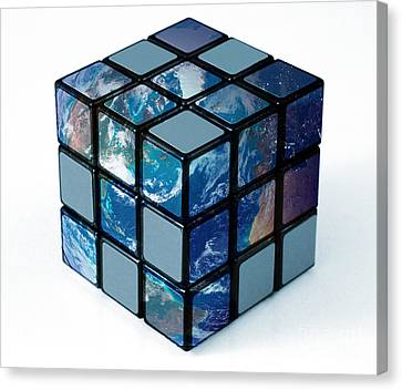 Earth As Rubiks Cube Canvas Print by Spencer Sutton