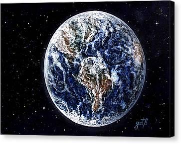 Earth Beauty Original Acrylic Painting Canvas Print by Georgeta Blanaru