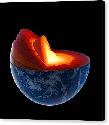 Educational Canvas Print - Earth Core Structure - Isolated by Johan Swanepoel