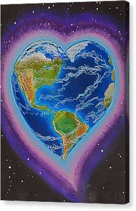 Earth Equals Heart Canvas Print by R Neville Johnston