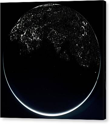 Earth From Space At Night Canvas Print