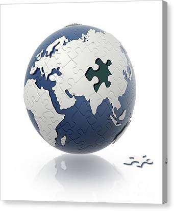 Earth Globe With Puzzle Pattern And One Canvas Print