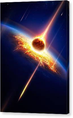 Destruction Canvas Print - Earth In A  Meteor Shower by Johan Swanepoel