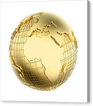 Earth In Gold Metal Isolated - Africa Canvas Print by Johan Swanepoel