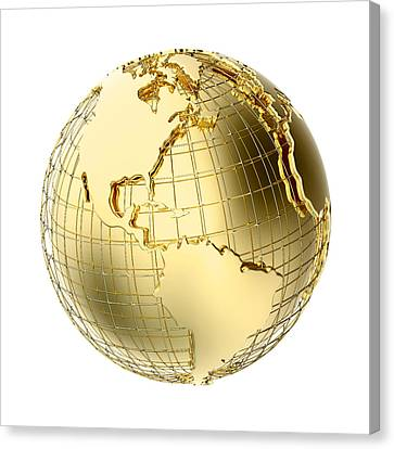 Solid Canvas Print - Earth In Gold Metal Isolated On White by Johan Swanepoel
