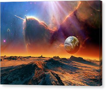 Earth-like Alien Planet And Nebula Canvas Print