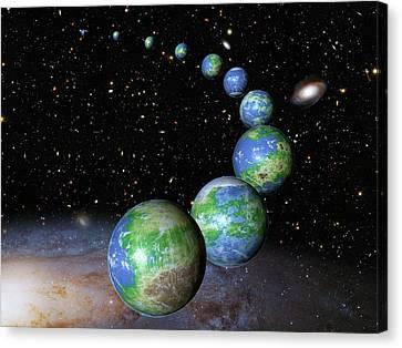 Earth-like Alien Planets Canvas Print by Nasa/esa/g.bacon/stsci