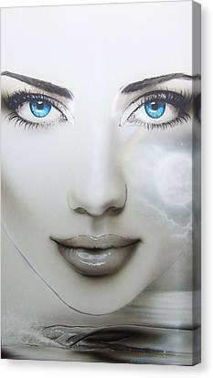 Portrait - ' Earth Moon ' Canvas Print
