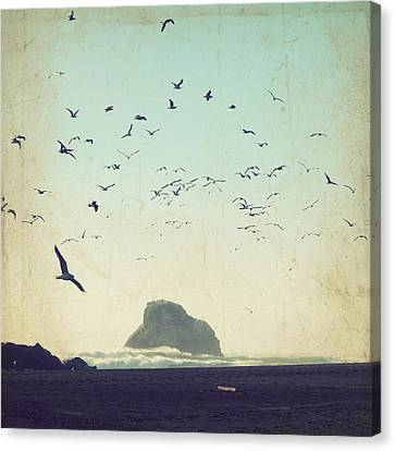 Flying Seagull Canvas Print - Earth Music by Lupen  Grainne