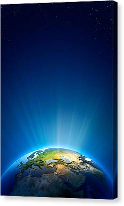 Earth Radiant Light Series - Europe Canvas Print by Johan Swanepoel