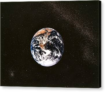 Earth Seen From Apollo 17 Africa And Antarctica Visible Canvas Print by Anonymous