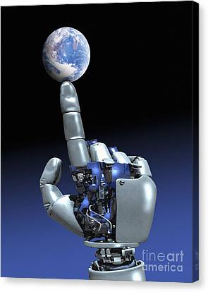 Earth Spinning On Robotic Finger  Canvas Print