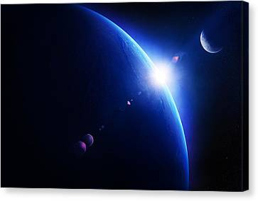 Early Morning Canvas Print - Earth Sunrise With Moon In Space by Johan Swanepoel