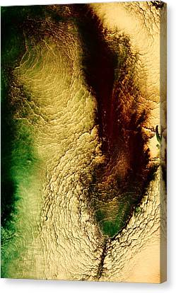 Earth Tones Abstract Art Depths Of The Grand Canyon  Canvas Print by Serg Wiaderny