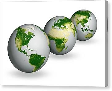 Earth Vegetation Globes Canvas Print by Carlos Clarivan