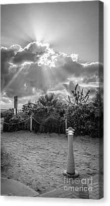 Earthly Light And Heavenly Light - Black And White Canvas Print