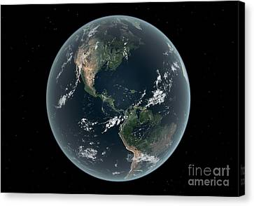 Merging Canvas Print - Earths Western Hemisphere With Rise by Walter Myers
