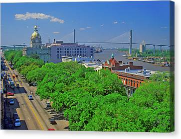 East Bay Canvas Print - East Bay Street, City Hall And Savannah by Panoramic Images