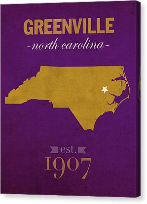 East Carolina University Pirates Greenville Nc College Town State Map Poster Series No 036 Canvas Print