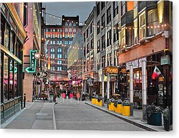 East Fourth Street In Cleveland Canvas Print by Frozen in Time Fine Art Photography