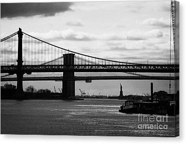 East River New York City Brooklyn Manhattan Bridges Canvas Print