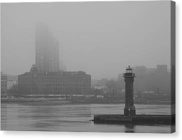 Canvas Print featuring the photograph East River Nyc by Steven Macanka
