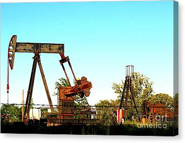 East Texas Oil Field Canvas Print by Kathy  White