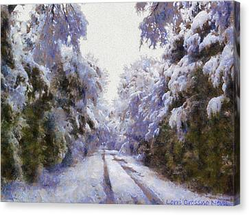 East Texas Snow Day Canvas Print by Lorri Crossno