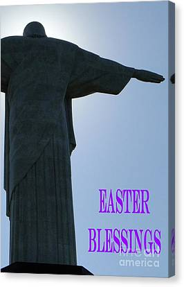 Easter Blessings Card Canvas Print by Barbie Corbett-Newmin