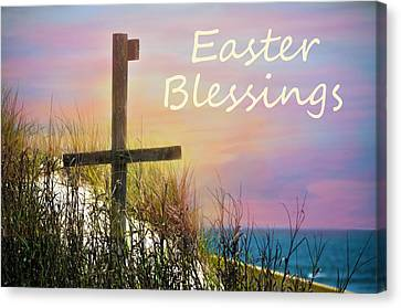 Easter Blessings Cross Canvas Print by Sandi OReilly