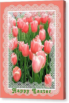Easter Card With Tulips Canvas Print by Rosalie Scanlon