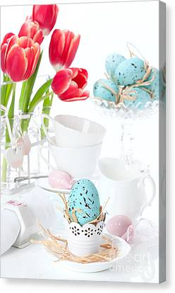 Egg-cup Canvas Print - Easter Egg Setting by Amanda Elwell