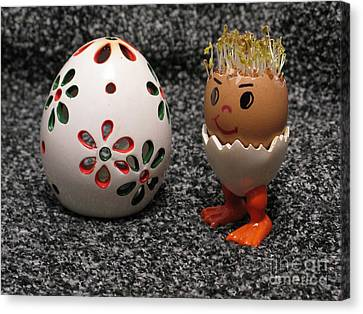 Easter Eggmen Or Egg With Hair Series. 01 Canvas Print