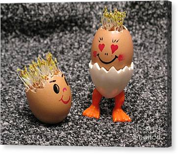 Easter Eggmen Or Eggs With Hair Series. 03 Canvas Print
