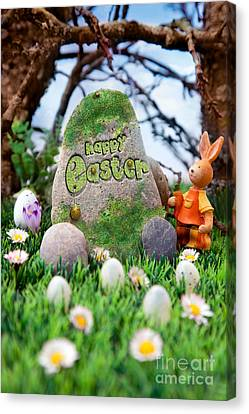 Easter Hunt Flyer With Bunny Canvas Print by Mythja  Photography