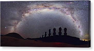 Easter Island Moai And Milky Way Canvas Print