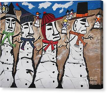 Easter Island Snow Men Canvas Print