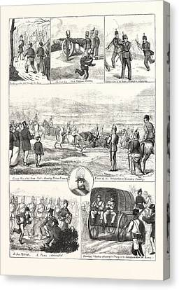 1876 Canvas Print - Easter Monday With The Volunteers At Tring, Engraving 1876 by English School