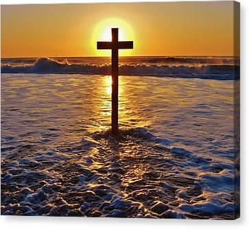 Easter Sunrise Cross Outer Banks 1 Canvas Print by Mark Lemmon