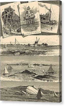 Eastern Long Island Scenes 1872 Engraving Canvas Print by Antique Engravings