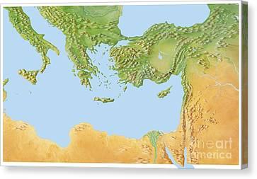Eastern Mediterranean, Artwork Canvas Print by Gary Hincks
