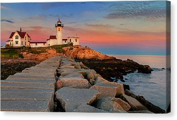 Eastern Point Lighthouse At Sunset Canvas Print by Thomas Schoeller