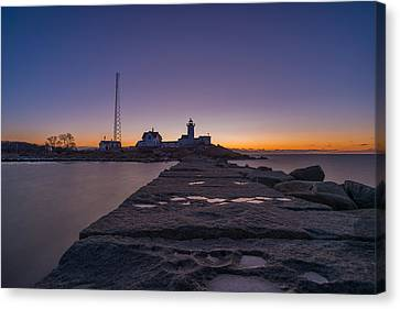 Eastern Point Lighthouse Just Before Sunrise Gloucester Ma Canvas Print by Bryan Xavier
