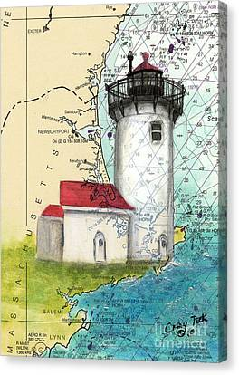 Eastern Pt Lighthouse Ma Nautical Chart Map Art Canvas Print by Cathy Peek