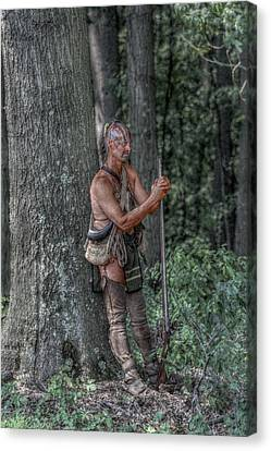 Eastern Woodlands Indian At Rest Canvas Print by Randy Steele