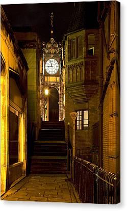 Eastgate Clock At Night Canvas Print by Jeff Dalton