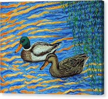 Canvas Print featuring the painting Eastlake Ducks by Dwain Ray