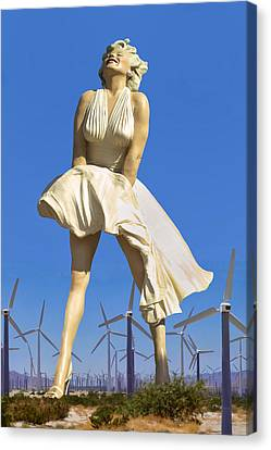 Cool Breeze Marilyn Palm Springs Canvas Print by William Dey