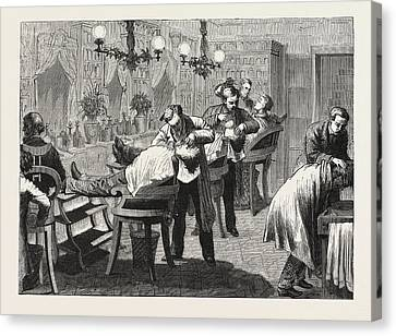 1876 Canvas Print - Easy Shaving, In The American Style, Engraving 1876 by American School